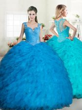 Custom Designed Straps Tulle Sleeveless Floor Length 15 Quinceanera Dress and Beading and Ruffles