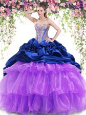 High Class Multi-color Ball Gowns Organza and Taffeta Sweetheart Sleeveless Beading and Ruffled Layers and Pick Ups With Train Lace Up Sweet 16 Quinceanera Dress Brush Train