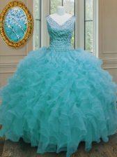 High Quality Ball Gowns 15 Quinceanera Dress Aqua Blue V-neck Organza Sleeveless Floor Length Zipper