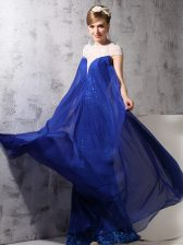 Edgy Sequins Column/Sheath Evening Dress Royal Blue High-neck Chiffon and Sequined Sleeveless Floor Length Zipper
