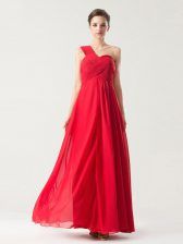 Admirable One Shoulder Sleeveless Ruching Zipper Prom Gown
