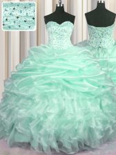 Sweetheart Sleeveless Quinceanera Dress With Train Sweep Train Beading and Ruffles and Pick Ups Apple Green Organza