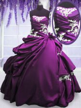 Spectacular Sleeveless Appliques and Pick Ups Lace Up Ball Gown Prom Dress