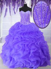 Custom Design Sleeveless Organza Floor Length Lace Up Sweet 16 Quinceanera Dress in Lavender with Beading and Ruffles