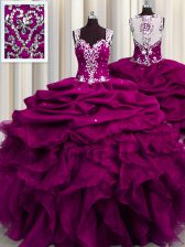 See Through Back Sleeveless Beading and Ruffles and Sequins Zipper Quinceanera Gown