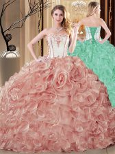 Pink Organza Lace Up Quinceanera Dresses Sleeveless Floor Length Embroidery and Ruffles
