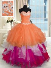Floor Length Lace Up Vestidos de Quinceanera Multi-color for Military Ball and Sweet 16 and Quinceanera with Beading and Ruffled Layers