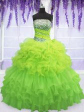 Pick Ups Ruffled Floor Length Ball Gowns Sleeveless Quinceanera Gowns Lace Up