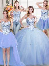 Four Piece Light Blue Tulle Lace Up Sweetheart Sleeveless Floor Length 15th Birthday Dress Beading