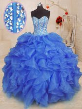 Excellent Sleeveless Organza Floor Length Lace Up Vestidos de Quinceanera in Royal Blue with Beading and Ruffles