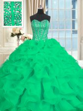 With Train Turquoise Ball Gown Prom Dress Sweetheart Sleeveless Brush Train Lace Up
