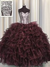 Flare Visible Boning Sweetheart Sleeveless Quince Ball Gowns Floor Length Ruffles and Sequins Dark Purple Organza and Sequined