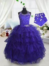 High Class Scoop Sleeveless Organza Little Girls Pageant Dress Beading and Ruffled Layers Lace Up