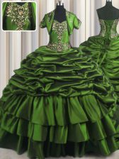 Green Taffeta Lace Up Sweetheart Sleeveless With Train Sweet 16 Dresses Brush Train Beading and Appliques and Pick Ups