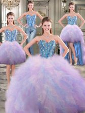 Popular Four Piece Sweetheart Sleeveless Tulle Quinceanera Gowns Beading and Ruffles Lace Up