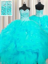 Visible Boning Beaded Bodice Aqua Blue Quinceanera Dress Military Ball and Sweet 16 and Quinceanera with Beading and Ruffles Sweetheart Sleeveless Lace Up