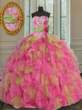Deluxe Sleeveless Organza Floor Length Lace Up Sweet 16 Quinceanera Dress in Multi-color with Beading and Ruffles and Sequins