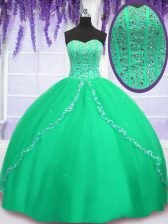Beauteous Beading and Sequins Sweet 16 Quinceanera Dress Green Lace Up Sleeveless Floor Length