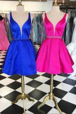 Classical Knee Length A-line Sleeveless Royal Blue Dress for Prom Zipper