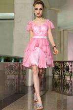 Belt Homecoming Dress Rose Pink Side Zipper Cap Sleeves Mini Length