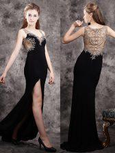 Gorgeous Black Prom Dresses Prom with Appliques V-neck Sleeveless Brush Train Zipper