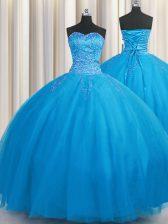 Fine Big Puffy Floor Length Blue Sweet 16 Dresses Sweetheart Sleeveless Lace Up