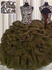 Sexy See Through Floor Length Brown Vestidos de Quinceanera Organza Sleeveless Beading and Pick Ups