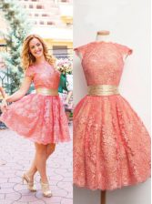 Custom Designed Scoop Cap Sleeves Knee Length Lace Zipper Prom Evening Gown with Watermelon Red