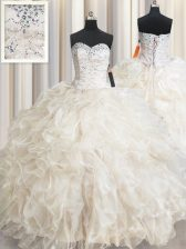 Fashionable Floor Length Champagne Quinceanera Dresses Organza Sleeveless Beading and Lace and Ruffles