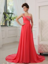 One Shoulder Watermelon Red Sleeveless Chiffon Brush Train Zipper for Prom and Party