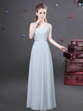 Custom Fit Chiffon V-neck Sleeveless Zipper Ruching Dama Dress in Grey