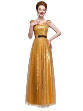 Scoop Sequins Floor Length Empire Cap Sleeves Gold Zipper