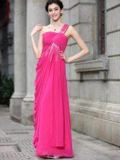 Hot Pink Chiffon Zipper Bateau Sleeveless Floor Length Prom Gown Sequins