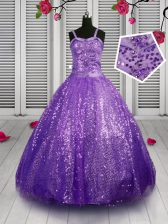 Lavender Ball Gowns Sequined Straps Sleeveless Sequins Floor Length Lace Up Little Girl Pageant Gowns