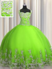 Free and Easy Floor Length Quince Ball Gowns Tulle Sleeveless Beading and Appliques