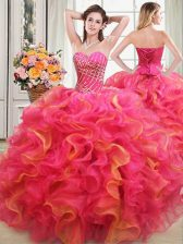 Multi-color Sleeveless Organza Lace Up Vestidos de Quinceanera for Military Ball and Sweet 16 and Quinceanera