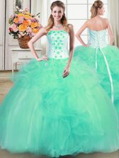 Sweet Sleeveless Tulle Floor Length Lace Up Quinceanera Gown in Turquoise with Beading and Appliques and Ruffles