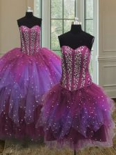 Three Piece Multi-color Sweetheart Lace Up Beading 15 Quinceanera Dress Sleeveless
