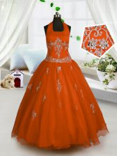 Red Tulle Lace Up Halter Top Sleeveless Floor Length Little Girls Pageant Dress Appliques