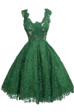 Dynamic Scoop Dark Green A-line Appliques Prom Dresses Zipper Lace Sleeveless Knee Length