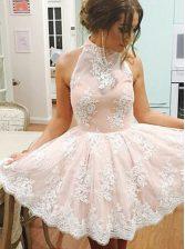 Comfortable Champagne High-neck Neckline Lace Evening Dress Sleeveless Zipper