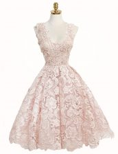 Clearance Knee Length Zipper Prom Party Dress Baby Pink for Prom and Party with Lace
