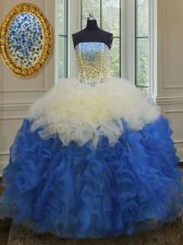 Elegant Sleeveless Organza Floor Length Lace Up 15th Birthday Dress in Blue And White with Beading and Ruffles