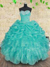 Suitable Sweetheart Sleeveless Vestidos de Quinceanera Floor Length Beading and Ruffles and Ruching Aqua Blue Organza