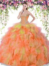 Multi-color Sweetheart Neckline Beading and Ruffles Quince Ball Gowns Sleeveless Lace Up
