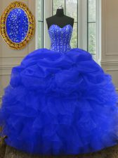 Pick Ups Floor Length Royal Blue Ball Gown Prom Dress Sweetheart Sleeveless Lace Up