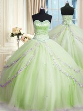 High End Tulle Sweetheart Sleeveless Court Train Lace Up Beading and Appliques Quince Ball Gowns in Yellow Green