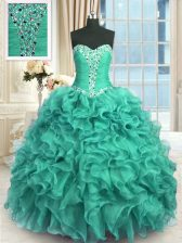 Luxury Floor Length Turquoise Quinceanera Dress Sweetheart Sleeveless Lace Up