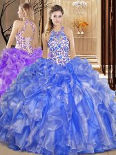 Custom Fit Blue Backless Scoop Embroidery and Ruffles Quinceanera Gowns Organza Sleeveless