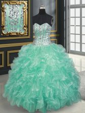 Traditional Floor Length Apple Green 15 Quinceanera Dress Organza Sleeveless Beading and Ruffles